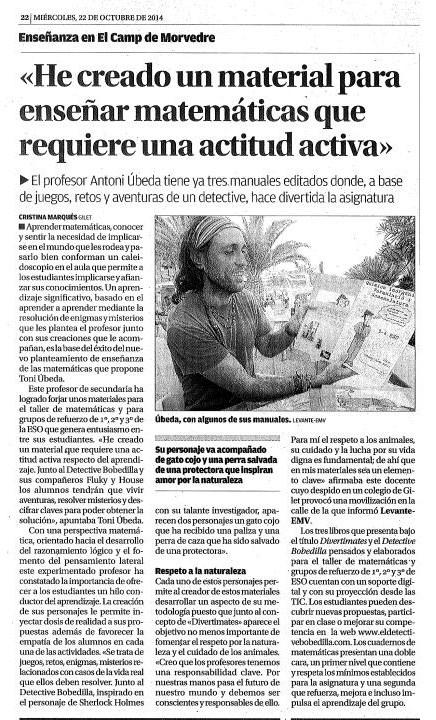 Maestro de matem ticas toni beda sos animales sagunto for Noticias naturaleza